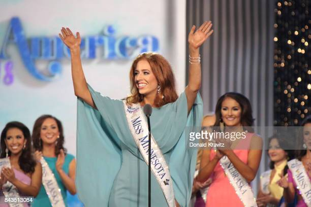 Miss Minnesota 2017 Brianna Drevlow enters the stage to participate in Miss America 2018 First Night of Preliminary Competition at Boardwalk Hall...