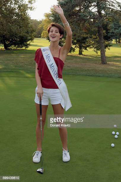 Miss Minnesota 2017 Madeline Van Ert smiles and waves after her putt at Linwood Country Club for Contestant Dinner and Golf Event on September 4 2016...