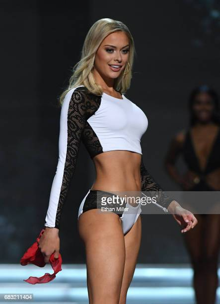 Miss Minnesota USA 2017 Meridith Gould competes in the swimsuit competition during the 2017 Miss USA pageant at the Mandalay Bay Events Center on May...