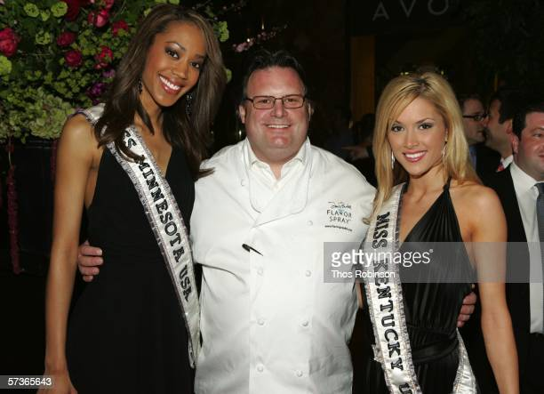 Miss Minnesota USA Dottie Cannon Chef David Burke and Miss Kentucky USA Tara Elizabeth Conner attend 'Universal Beauty The Miss Universe Guide To...