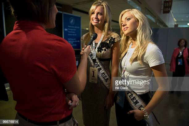 Miss Minnesota USA Kaylee Unverzagt left and Miss Minnesota Teen USA Sarah Sprayberry speak to a television news crew on the concourse of the of the...