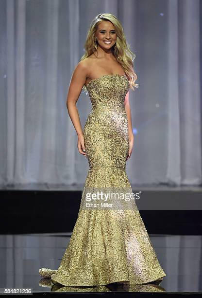 Miss Missouri Teen USA 2016 Dallas Ezard competes in the evening gown competition during the 2016 Miss Teen USA Competition at The Venetian Las Vegas...