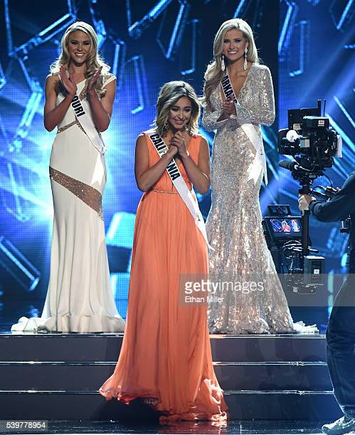 Miss Missouri USA 2016 Sydnee Stottlemyre and Miss Arkansas USA 2016 Abby Floyd look on as Miss California USA 2016 Nadia Mejia reacts after being...