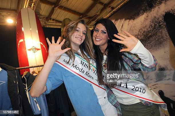 Miss Moda Mare Bear Nicole Magro and Miss Italia Francesca Testasecca attend Bear presentation during the Pitti Immagine Uomo 79 at the Fortezza da...