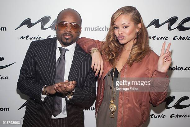 Miss Mulatto and Jermaine Dupri attend Miss Mulatto Visits Music Choice at Music Choice on March 31 2016 in New York City