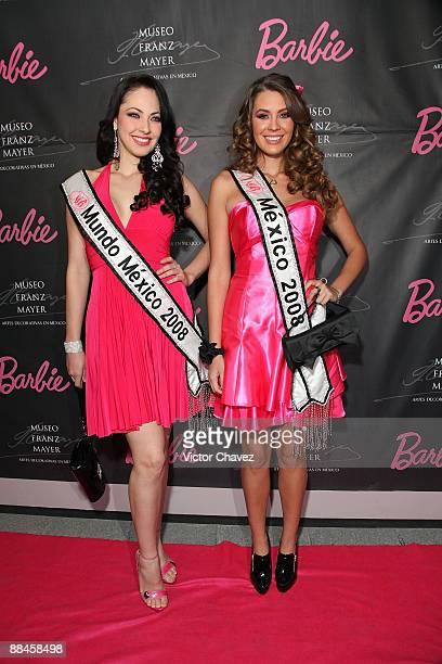 Miss Mundo Mexico 2008 Perla Beltran and Nuestra Belleza Mexico 2008 Karla Carrillo attends the Barbie's 50th Anniversary Exhibition at Museo Franz...