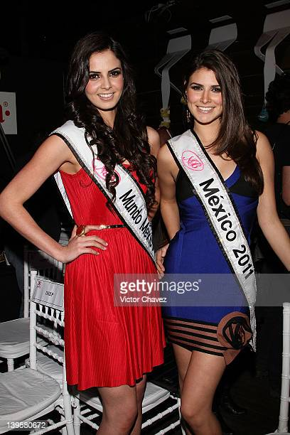 Miss Mundo Mexico 2011 Mariana Berumen and Miss Mexico 2011 Karina Gonzalez attend the Andrea Spring/Summer 2012 fashion show at the Hotel Brick on...