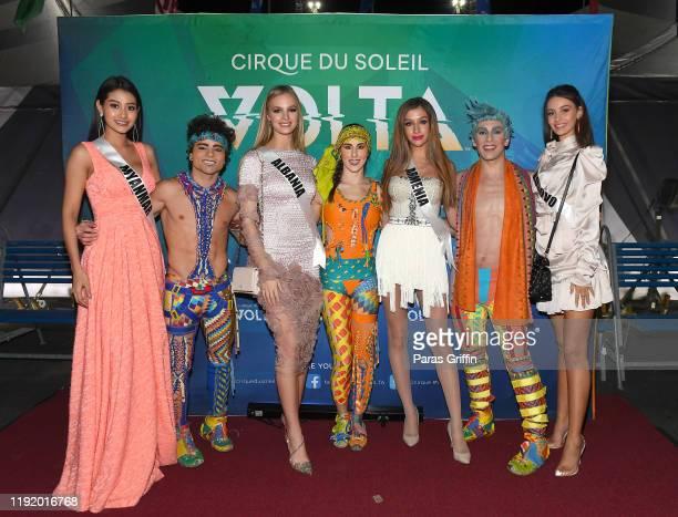 Miss Myanmar Swe Zin Htet, Miss Albania Cindy Marina, Miss Armenia Dayana Davtyan and Miss Kosovo Fatbardha Hoxha pose with cast members of Volta...