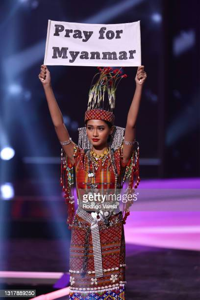 Miss Myanmar Thuzar Wint Lwin appears onstage at the 69th Miss Universe National Costume Show at Seminole Hard Rock Hotel & Casino on May 13, 2021 in...