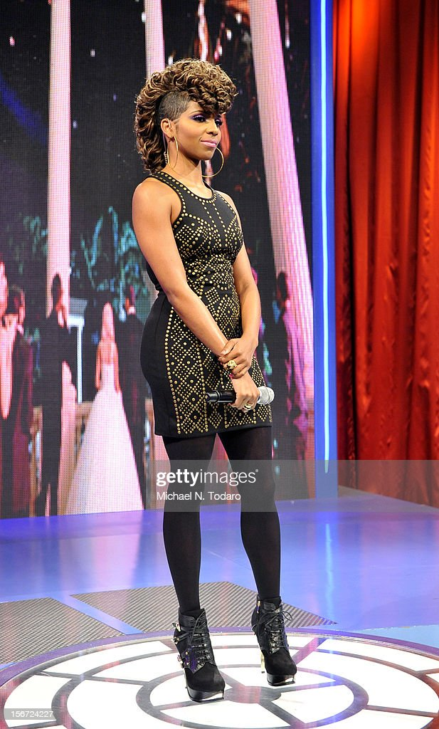 Miss Mykie hosts BET's 106 & Park at 106 & Park Studio on November 19, 2012 in New York City.