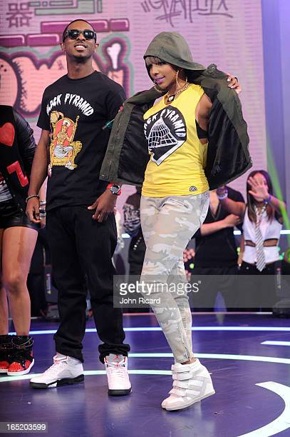 Miss Mykie models clothing from Chris Brown's Black Pyramid clothing line at BET's '106 Park' at BET Studios on April 1 2013 in New York City