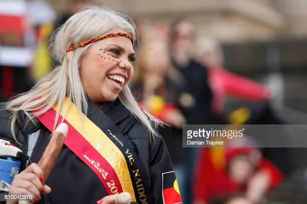 Miss Naidoc leads the 2017 NAIDOC March on July 7 2017 in Melbourne Australia The march was organised to call for a day of mourning and to bring to...