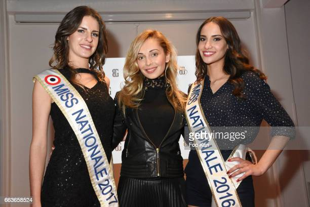 Miss Nationale 2016 Eugenie Journee accessories designer Angelina Ober nd Miss Nationale 2017 Anaelle Bagot attend Georges Bedran Fashion Show at...