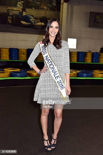 Miss Nationale 2016 Eugenie Journee attends 'Une Course pour La Vie' Gregory Lemarchal association at Paris Kart Indoor de Wissous on March 5 2016 in...