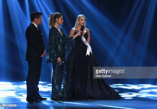 Miss Nebraska Sarah Rose Summers answers questions for hosts Nick Lachey and Vanessa Lachey during of the 2018 Miss USA Competition at George's Pond...