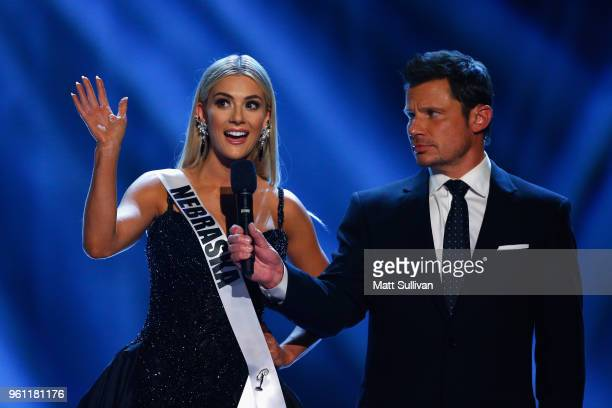 Miss Nebraska Sarah Rose Summers answers questions with host Nick Nachey during the 2018 Miss USA Competition at George's Pond at Hirsch Coliseum on...