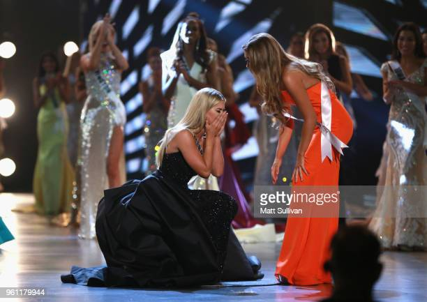 Miss Nebraska Sarah Rose Summers celebrates with Miss North Carolina Caelynn MillersKeyes after winning the 2018 Miss USA Competition at George's...