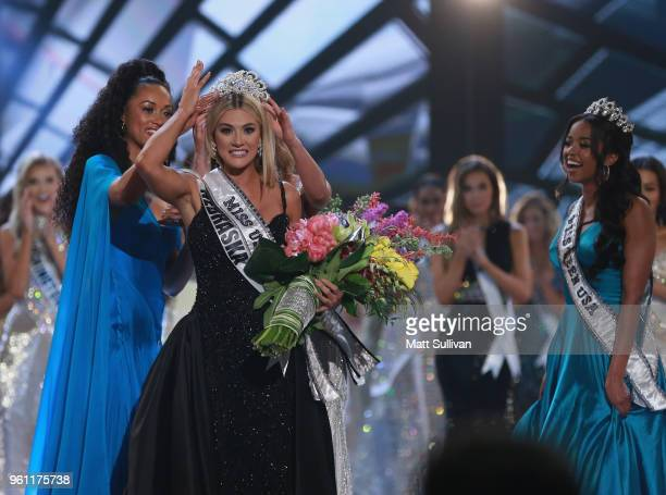 Miss Nebraska Sarah Rose Summers is crowned by Miss USA 2017 Kara McCullough Miss Universe 2017 DemiLeigh NelPeters and Miss Teen USA 2018 Hailey...