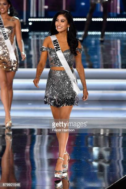 Miss Nepal 2017 Nagma Shrestha competes during the 2017 Miss Universe Pageant at The Axis at Planet Hollywood Resort Casino on November 26 2017 in...