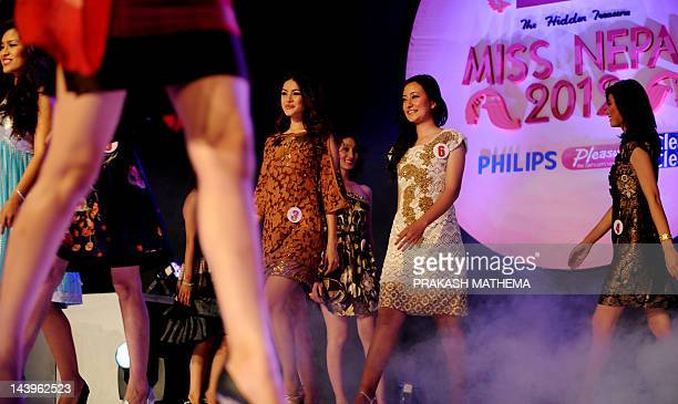 Miss Nepal contestants walk past during the contest in Kathmandu on May 6 2012 Miss Nepal Shristi Shrestha will go on to participate in the forth...