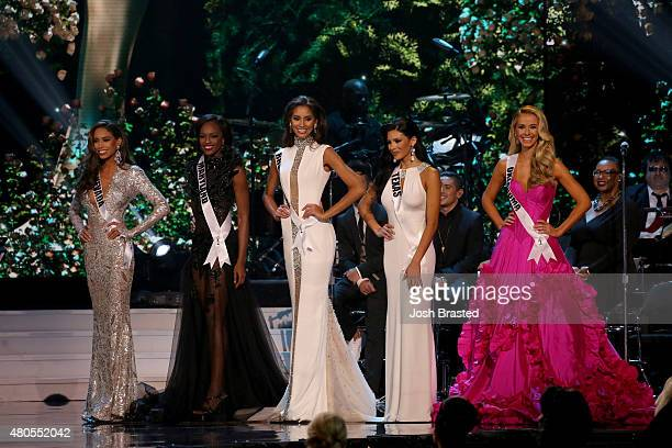Miss Nevada Brittany McGowan Miss Maryland Mame Adjei Miss Rhode Island Anea Garcia Miss Texas Ylianna Guerra and Miss Oklahoma Olivia Jordan pose on...