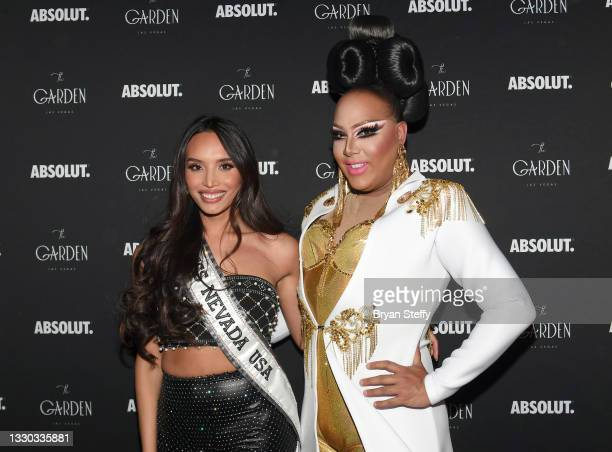 Miss Nevada USA 2021 Kataluna Enriquez and drag queen and television personality Alexis Mateo attend a celebration honoring Enriquez as Miss USA's...