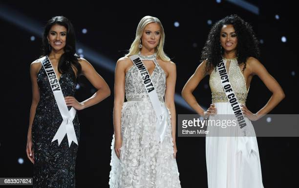 Miss New Jersey USA 2017 Chhavi Verg Miss Minnesota USA 2017 Meridith Gould and Miss District of Columbia USA 2017 Kara McCullough stand together...