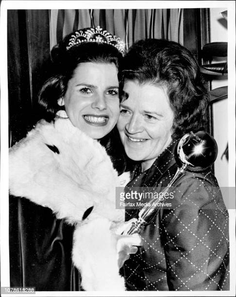 Miss New South Wales, 1973. Susie Elelman from Mona Vale, pictured after the crowning with her mother Mrs. Anne Elelman. October 13, 1972. .