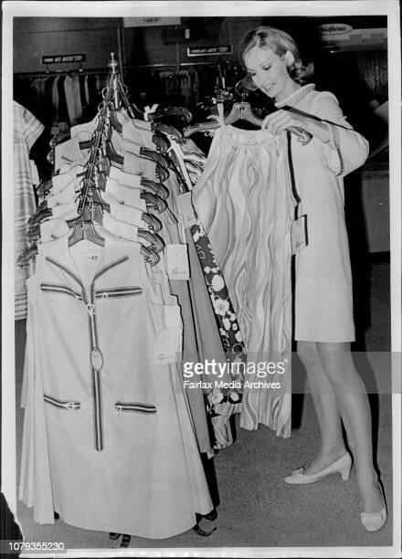 Miss New South Wales, Janet Hayes, ***** selecting her wardrobe at Grace Bros, Chatswood today.Miss Janet Hayes, Miss New South Wales, being helped...