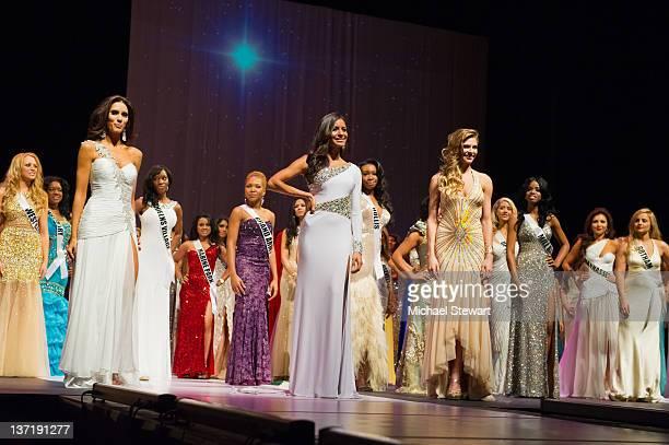 Miss New York 2012 finalists Miss Big Apple Ashley Layfield Miss City of Dreams Johanna Sambucini and Miss Greenpoint Sarah Otey attend the 2012 Miss...