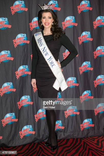 Miss New York Amanda Mason attends the SMART Girls dinner hosted by Miss New York Amanda Mason at Planet Hollywood Times Square on February 26 2014...
