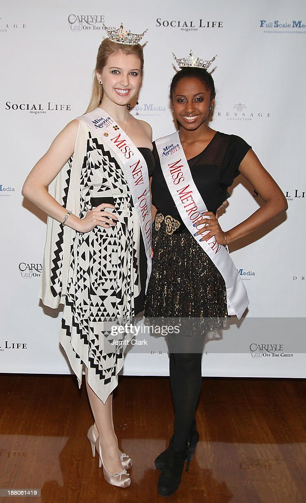 Miss New York City Acacia Courtney and Miss Metropolitan Melissa Phillips attend the Social Life Magazine Luxe Manhattan Event on November 13, 2013 in New York City.