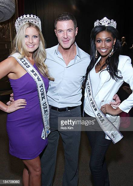 Miss New York USA 2011 Amber Collins, Miss USA Executive Director Keith Lewis and Miss New York Teen USA 2011 Lisa Drouillard attend the Miss New...