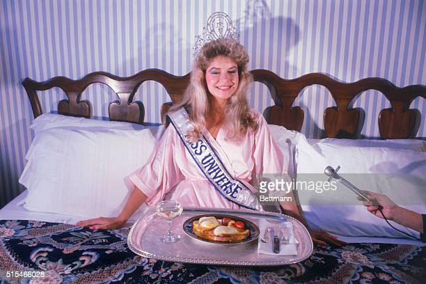Miss New Zealand Lorraine Downes enjoys her first day as Miss Universe after winning the crowning ceremonies on July 11 Miss Downes was served a...