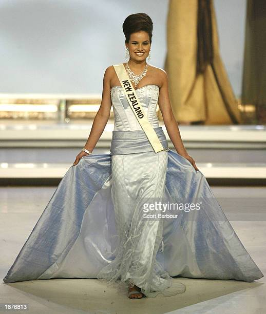 Miss New Zealand Rachel Maree Huljich walks as she is introduced to the audience at the Miss World 2002 competition December 7 2002 in London England...