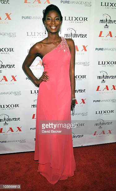Miss Nigeria 2010 Ngozi Odalonu arrives at the after party for the 2010 Miss Universe pageant at the LAX Nightclub at the Luxor Resort Casino August...