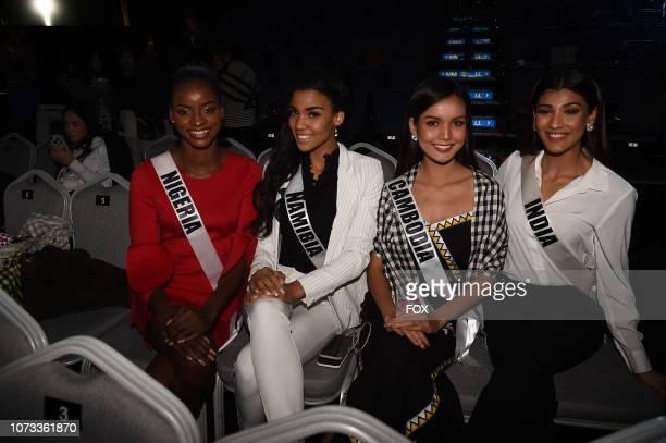 Miss Nigeria Aramide Lopez Miss Namibia Selma Kamanya Miss Cambodia Nat Rern and Miss India Nehal Chudasama at the rehearsals for the 2018 MISS...