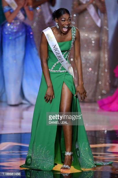 Miss Nigeria Nyekachi Douglas reacts during the the Miss World Final 2019 at the Excel arena in east London on December 14 2019