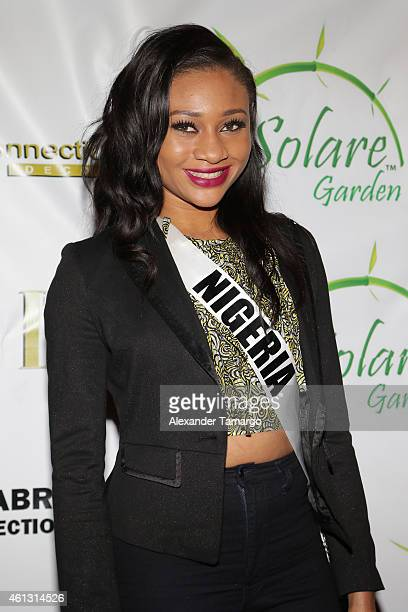 Miss Nigeria Queen Celestine arrives at Solare Garden in preparation for the 63rd Annual Miss Universe Pageant on January 10 2015 in Doral Florida