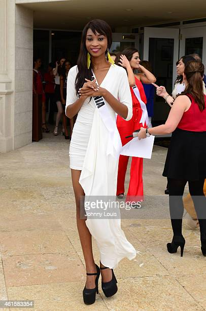 Miss Nigeria Queen Celestine attends opening of Red Tiger Golf Course at Trump National Doral on January 12 2015 in Doral Florida