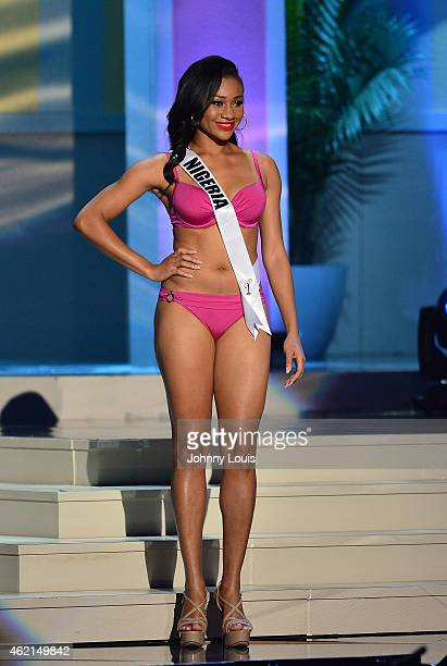 Miss Nigeria Queen Celestine participates in 63rd Annual MISS UNIVERSE Preliminary Show at Florida International University on January 21 2015 in...