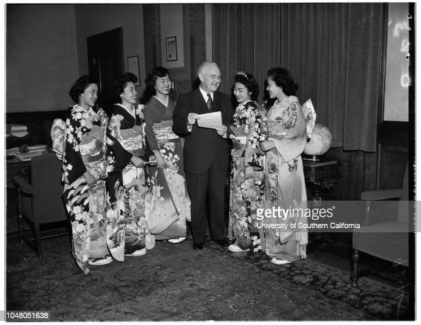 Miss Nisei 20 August 1951 Susie Yamashita 19 yearsKiku Kay Fujihara 20 yearsFlorence Wada 20 yearsMayor Fletcher BowronAiko Ogomori Tazuko Alice...