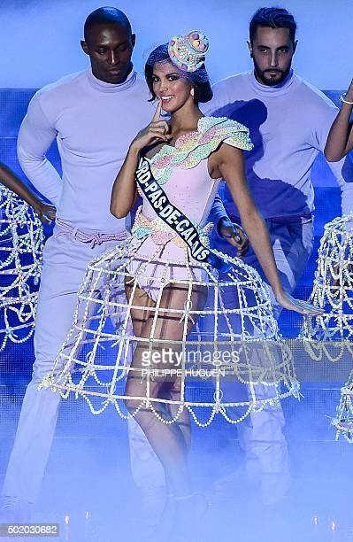 Miss Nord-Pas-de-Calais Iris Mittenaere performs on stage during the Miss France 2016 beauty pageant, on December 19, 2015 in Lille, northern France....