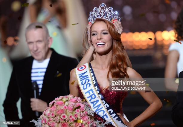 Miss NordPasdeCalais Maeva Coucke is crowned Miss France 2018 performs during the Miss France 2018 pageant in Chateauroux central France on December...