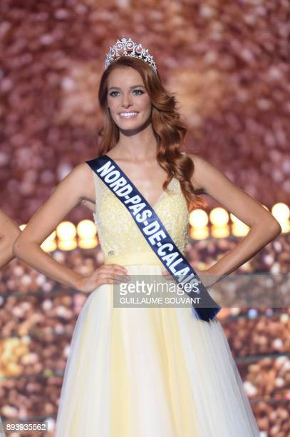 Miss NordPasdeCalais Maeva Coucke performs during the Miss France 2018 pageant in Chateauroux central France on December 16 2017