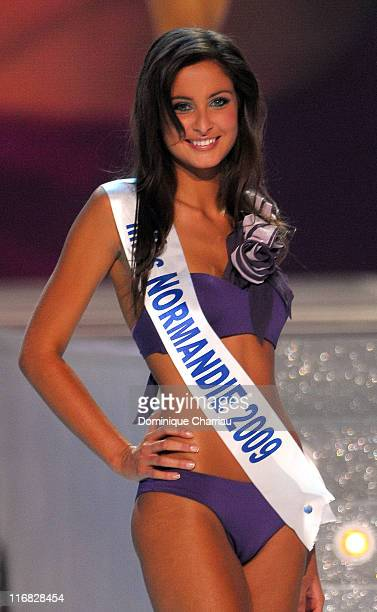 Miss Normandie Malika Menard walks along the stage during the 2010 Miss France Beauty pageant at the Palais Nikaia on December 5 2009 in Nice France