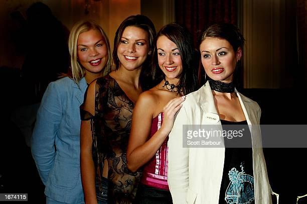 Miss Northern Ireland Gayle Williamson Miss England Daniella Luan Miss Wales Michelle Bush and Miss Scotland Paula Murphy attend a Miss World press...