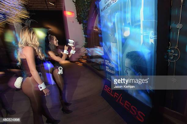 Miss October 2013 Carly Lauren and 2013 Playmate of the Year Raquel Pomplun attend Playboy and Gramercy Pictures' Self/less party during ComicCon...