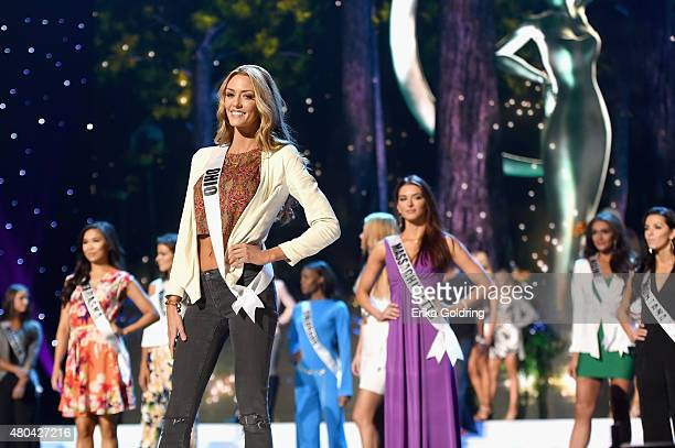 Miss Ohio rehearses onstage during the 2015 Miss USA Pageant Rehearsals only on ReelzChannel at The Baton Rouge River Center on July 11 2015 in Baton...