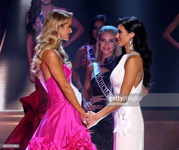 Miss Oklahoma Olivia Jordan and Miss Texas Ylianna Guerra onstage at the 2015 Miss USA Pageant Only On ReelzChannel at The Baton Rouge River Center...